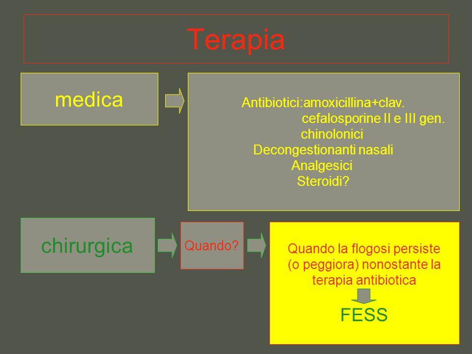 Terapia medica Antibiotici:amoxicillina+clav. cefalosporine II e III gen. chinolonici Decongestionanti nasali Analgesici Steroidi? chirurgica Quando?