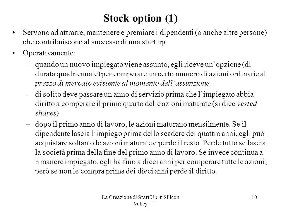 La Creazione di Start Up in Silicon Valley 10 Stock option (1) Servono ad attrarre, mantenere e premiare i dipendenti (o anche altre persone) che cont