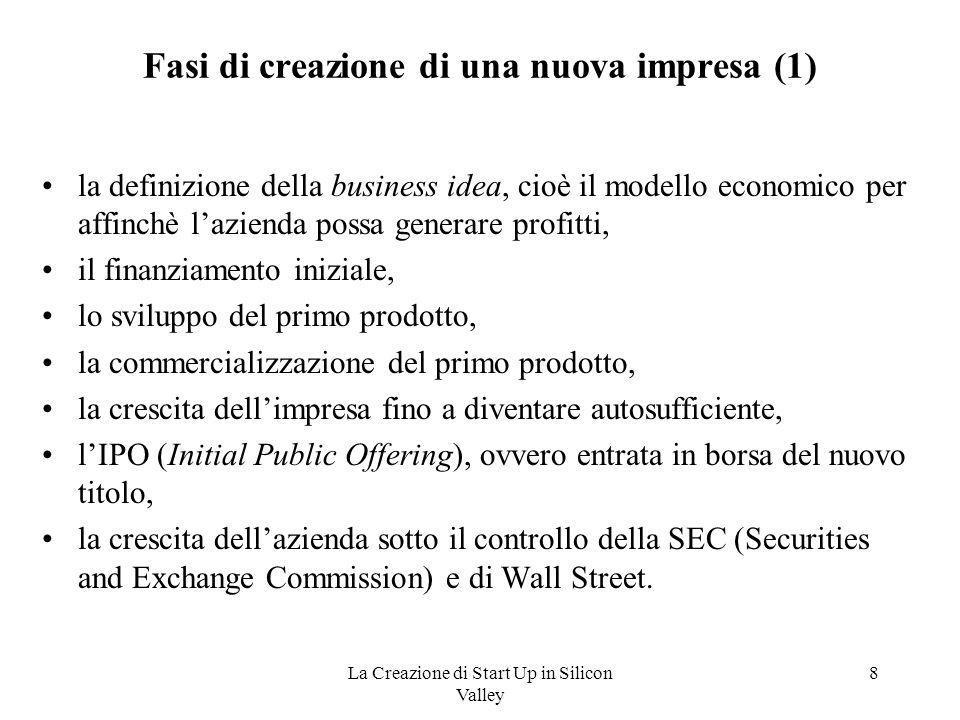 La Creazione di Start Up in Silicon Valley 8 Fasi di creazione di una nuova impresa (1) la definizione della business idea, cioè il modello economico