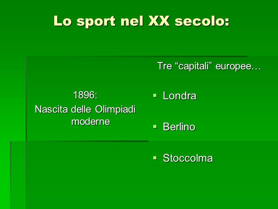 Lo sport nel XX secolo: 1896: Nascita delle Olimpiadi moderne Tre capitali europee…  Londra  Berlino  Stoccolma