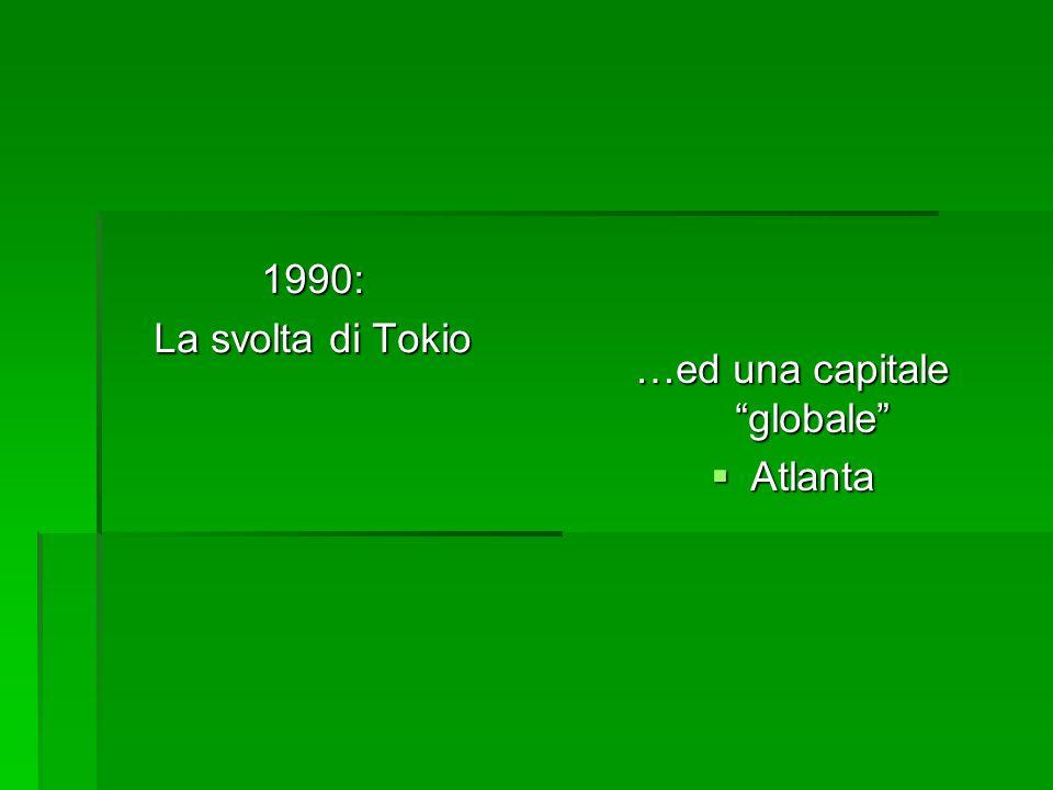 1990: La svolta di Tokio …ed una capitale globale  Atlanta
