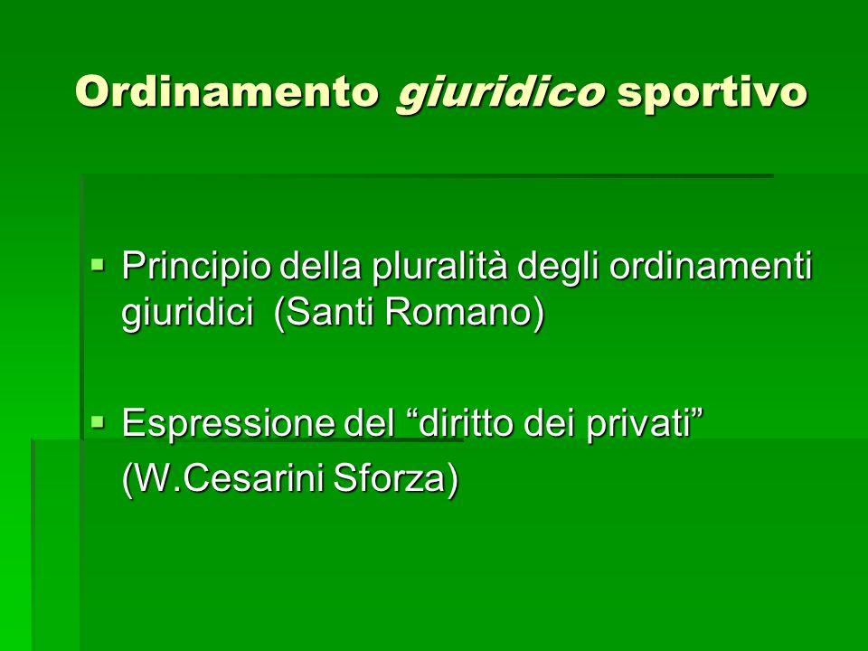 Prime osservazioni sugli ordinamenti giuridici sportivi ( M.S.Giannini,1949)  Plurisoggettività  Normazione  Organizzazione Cass.
