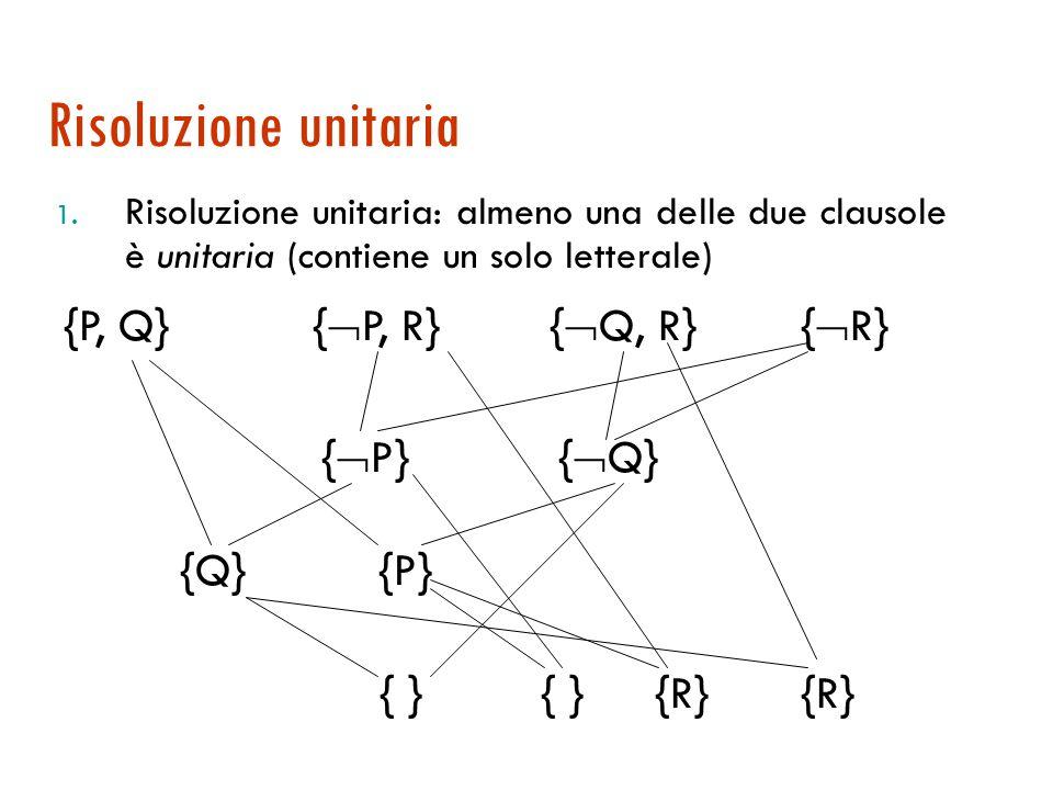Strategie di restrizione  Ad ogni passo si sceglie tra un sottoinsieme delle possibili clausole  Tra le strategie possibili: 1.