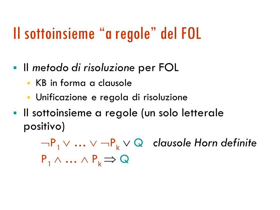 Agenti logici: sistemi a regole Regole all indietro e programmazione logica Regole in avanti e basi di dati deduttive Maria Simi a.a.