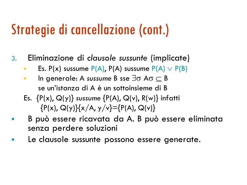 Strategie di cancellazione (cont.) 3.Eliminazione di clausole sussunte (implicate)  Es.