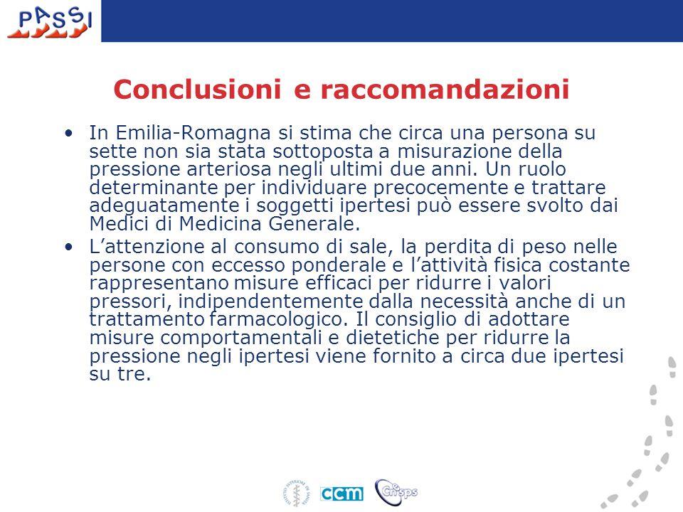 Conclusioni e raccomandazioni In Emilia-Romagna si stima che circa una persona su sette non sia stata sottoposta a misurazione della pressione arteriosa negli ultimi due anni.