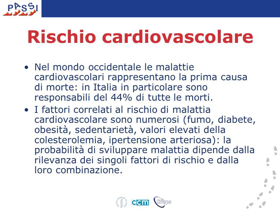 Persone con diagnosi riferita di ipertensione Emilia-Romagna - PASSI 2007 (n= 2.269) Totale 20,719,0-22,4 Classi di età 18 - 34 6,03,8-8,2 35 - 49 13,911,2-16,5 50 - 69 37,834,3-41,3 Sesso uomini 21,419,0-23,9 donne 20,017,6-22,4 Istruzione nessuna/elementare 38,332,4-44,3 media inferiore 22,519,1-25,9 media superiore 16,614,1-19,1 laurea 11,77,8-15,6 Difficoltà economiche molte 24,318,0-30,5 qualcuna 23,320,0-26,5 nessuna 18,4*16,2-20,7 Stato nutrizionale sotto/normopeso 11,59,7-13,4 sovrappeso/obeso 32,429,3-35,6