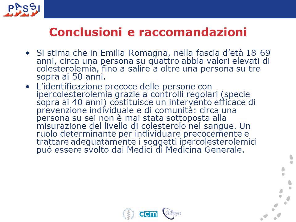 Conclusioni e raccomandazioni Si stima che in Emilia-Romagna, nella fascia d'età 18-69 anni, circa una persona su quattro abbia valori elevati di colesterolemia, fino a salire a oltre una persona su tre sopra ai 50 anni.