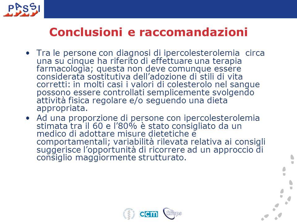Conclusioni e raccomandazioni Tra le persone con diagnosi di ipercolesterolemia circa una su cinque ha riferito di effettuare una terapia farmacologia