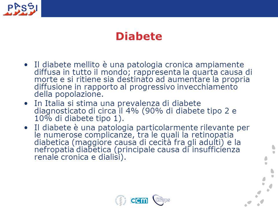 Diabete Il diabete mellito è una patologia cronica ampiamente diffusa in tutto il mondo; rappresenta la quarta causa di morte e si ritiene sia destinato ad aumentare la propria diffusione in rapporto al progressivo invecchiamento della popolazione.