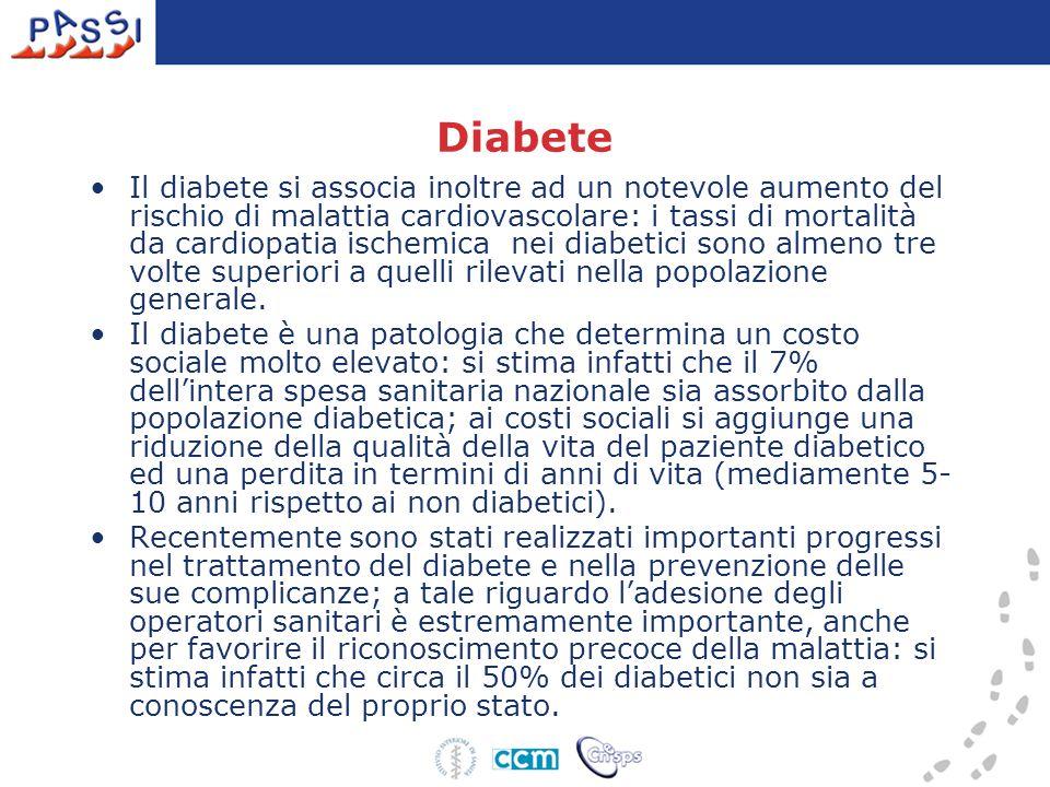Diabete Il diabete si associa inoltre ad un notevole aumento del rischio di malattia cardiovascolare: i tassi di mortalità da cardiopatia ischemica nei diabetici sono almeno tre volte superiori a quelli rilevati nella popolazione generale.