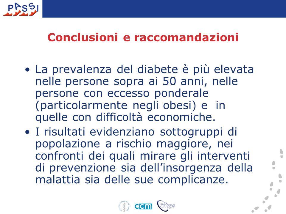 Conclusioni e raccomandazioni La prevalenza del diabete è più elevata nelle persone sopra ai 50 anni, nelle persone con eccesso ponderale (particolarmente negli obesi) e in quelle con difficoltà economiche.