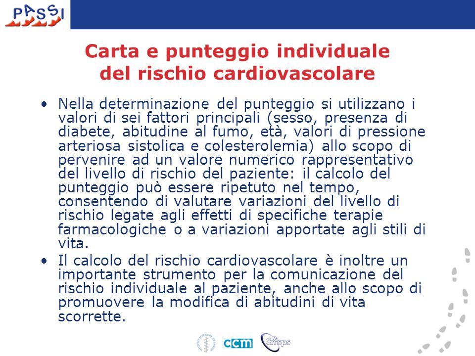 Carta e punteggio individuale del rischio cardiovascolare Nella determinazione del punteggio si utilizzano i valori di sei fattori principali (sesso,