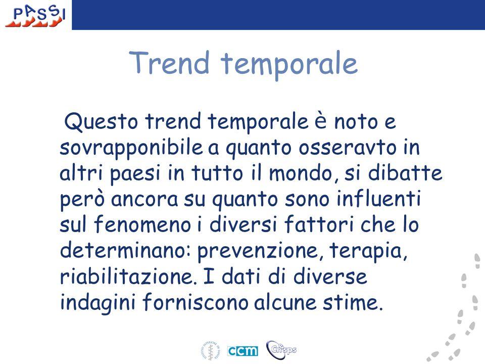 Trend temporale Questo trend temporale è noto e sovrapponibile a quanto osseravto in altri paesi in tutto il mondo, si dibatte però ancora su quanto s