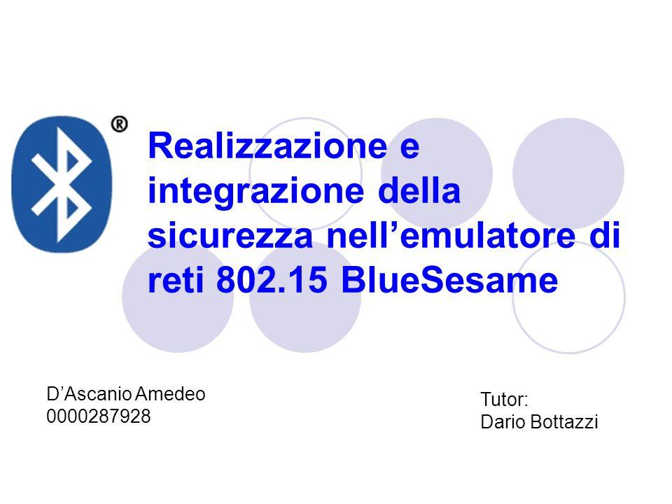 Realizzazione e integrazione della sicurezza nell'emulatore di reti 802.15 BlueSesame D'Ascanio Amedeo 0000287928 Tutor: Dario Bottazzi