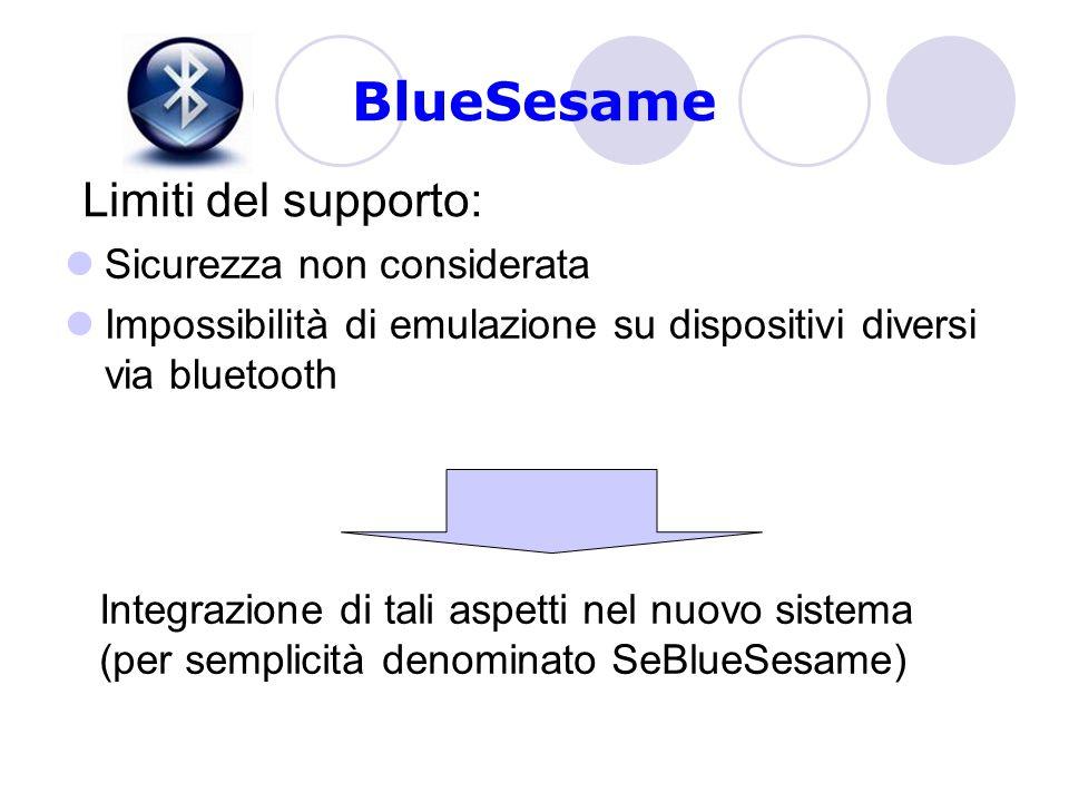 BlueSesame Sicurezza non considerata Impossibilità di emulazione su dispositivi diversi via bluetooth Limiti del supporto: Integrazione di tali aspetti nel nuovo sistema (per semplicità denominato SeBlueSesame)
