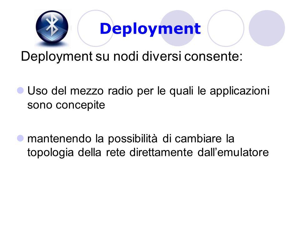 Deployment Uso del mezzo radio per le quali le applicazioni sono concepite mantenendo la possibilità di cambiare la topologia della rete direttamente dall'emulatore Deployment su nodi diversi consente: