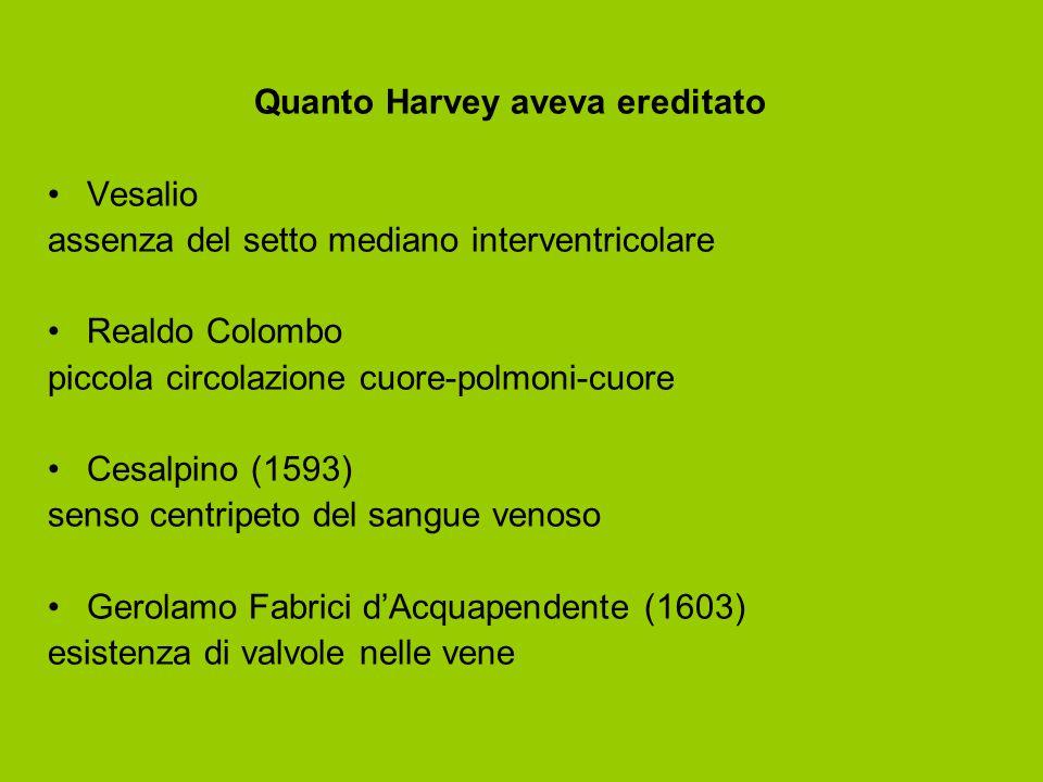 Quanto Harvey aveva ereditato Vesalio assenza del setto mediano interventricolare Realdo Colombo piccola circolazione cuore-polmoni-cuore Cesalpino (1593) senso centripeto del sangue venoso Gerolamo Fabrici d'Acquapendente (1603) esistenza di valvole nelle vene