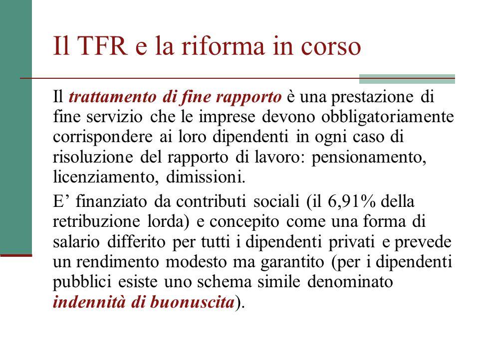 Il TFR e la riforma in corso Il trattamento di fine rapporto è una prestazione di fine servizio che le imprese devono obbligatoriamente corrispondere ai loro dipendenti in ogni caso di risoluzione del rapporto di lavoro: pensionamento, licenziamento, dimissioni.
