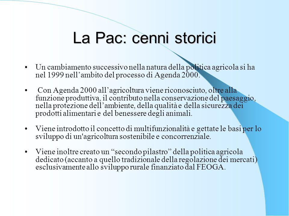 La Pac: cenni storici Un cambiamento successivo nella natura della politica agricola si ha nel 1999 nell'ambito del processo di Agenda 2000. Con Agend