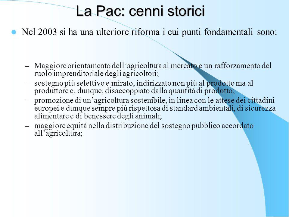 La Pac: cenni storici Nel 2003 si ha una ulteriore riforma i cui punti fondamentali sono: – Maggiore orientamento dell'agricoltura al mercato e un raf