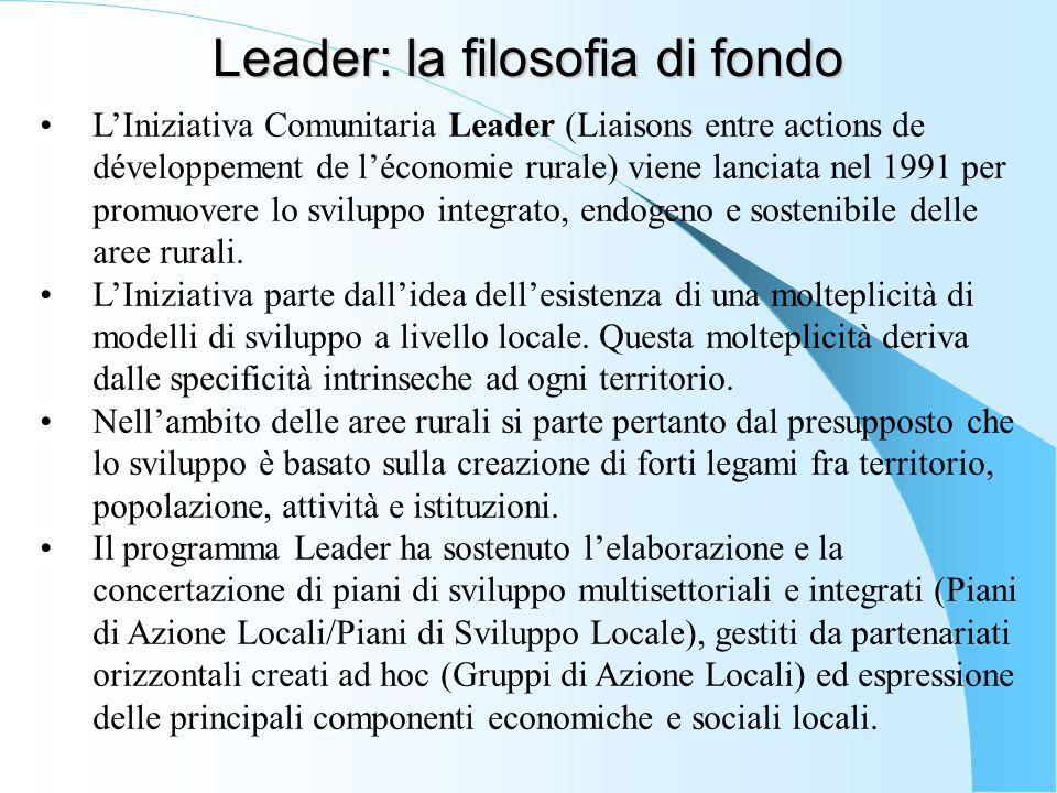 Leader: la filosofia di fondo L'Iniziativa Comunitaria Leader (Liaisons entre actions de développement de l'économie rurale) viene lanciata nel 1991 p