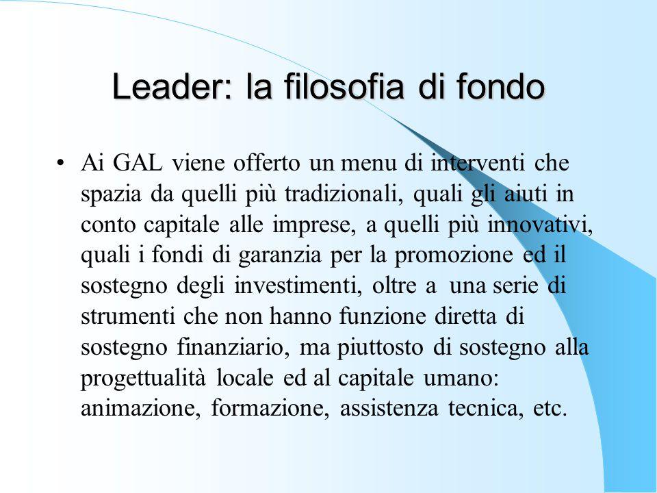 Leader: la filosofia di fondo Ai GAL viene offerto un menu di interventi che spazia da quelli più tradizionali, quali gli aiuti in conto capitale alle