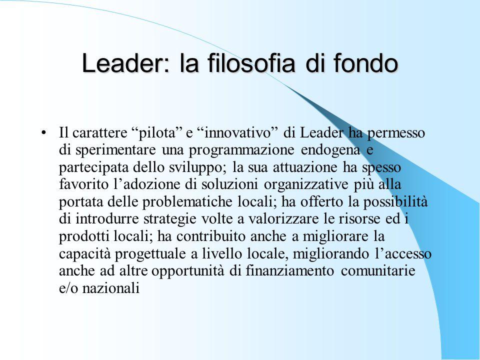 """Leader: la filosofia di fondo Il carattere """"pilota"""" e """"innovativo"""" di Leader ha permesso di sperimentare una programmazione endogena e partecipata del"""