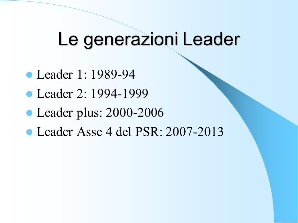 Le generazioni Leader Leader 1: 1989-94 Leader 2: 1994-1999 Leader plus: 2000-2006 Leader Asse 4 del PSR: 2007-2013
