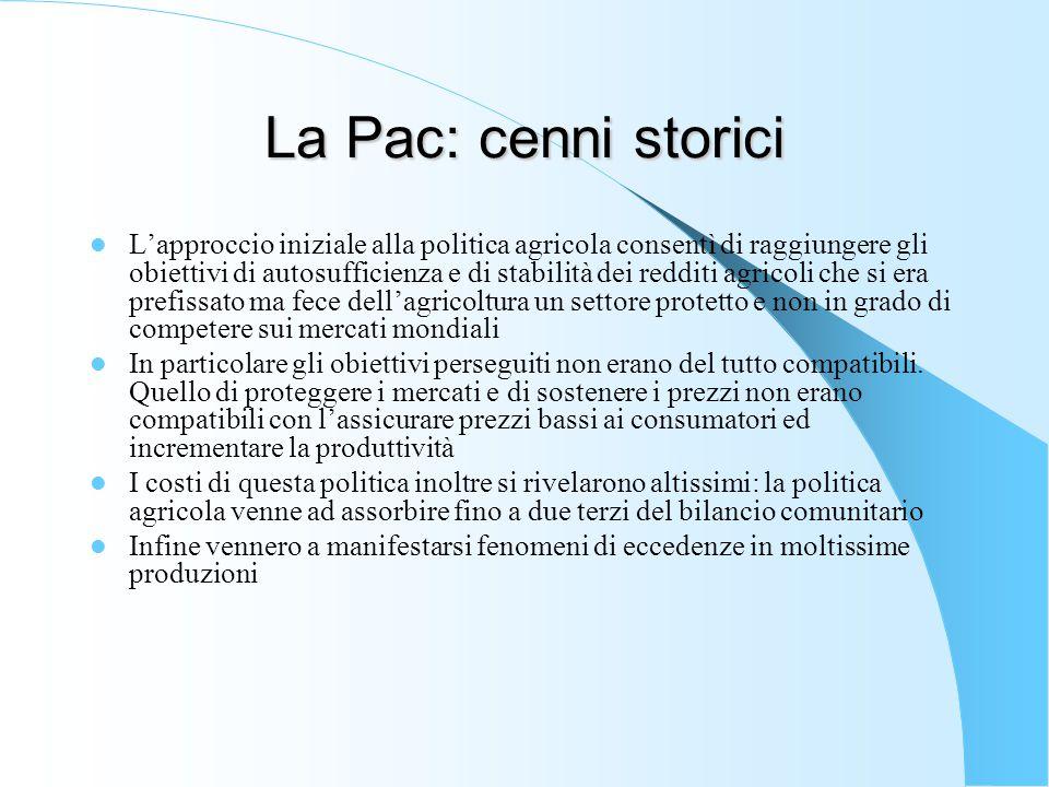 La Pac: cenni storici Nel 2007-2013 viene varata una vera e propria politica di sviluppo rurale.