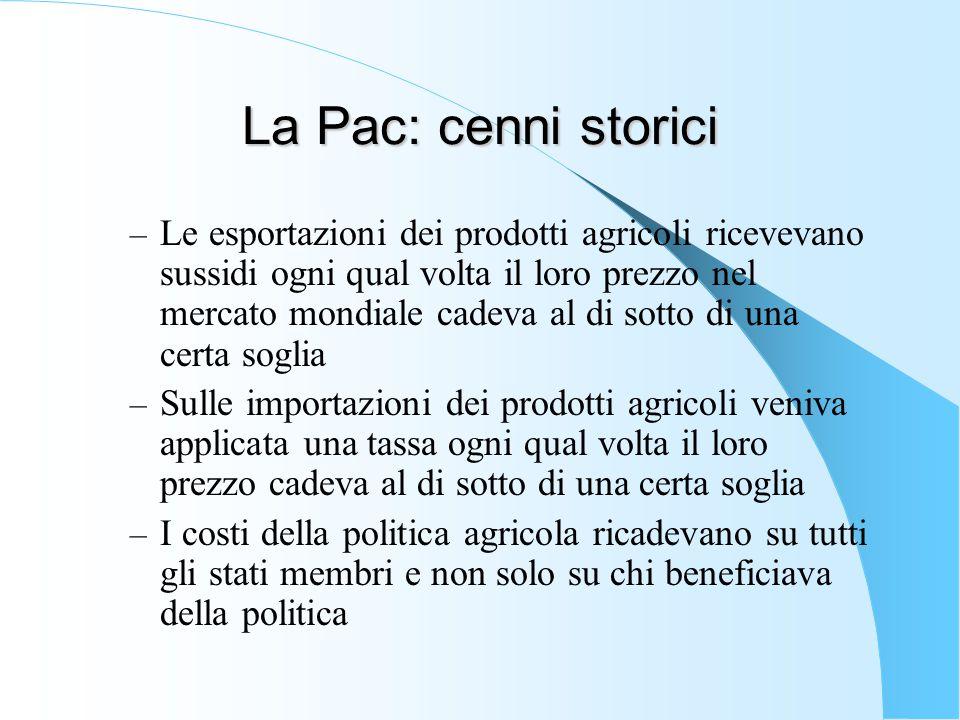 La Pac: cenni storici – Le esportazioni dei prodotti agricoli ricevevano sussidi ogni qual volta il loro prezzo nel mercato mondiale cadeva al di sott