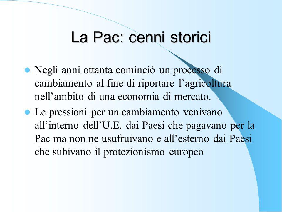 La Pac: cenni storici Negli anni ottanta cominciò un processo di cambiamento al fine di riportare l'agricoltura nell'ambito di una economia di mercato