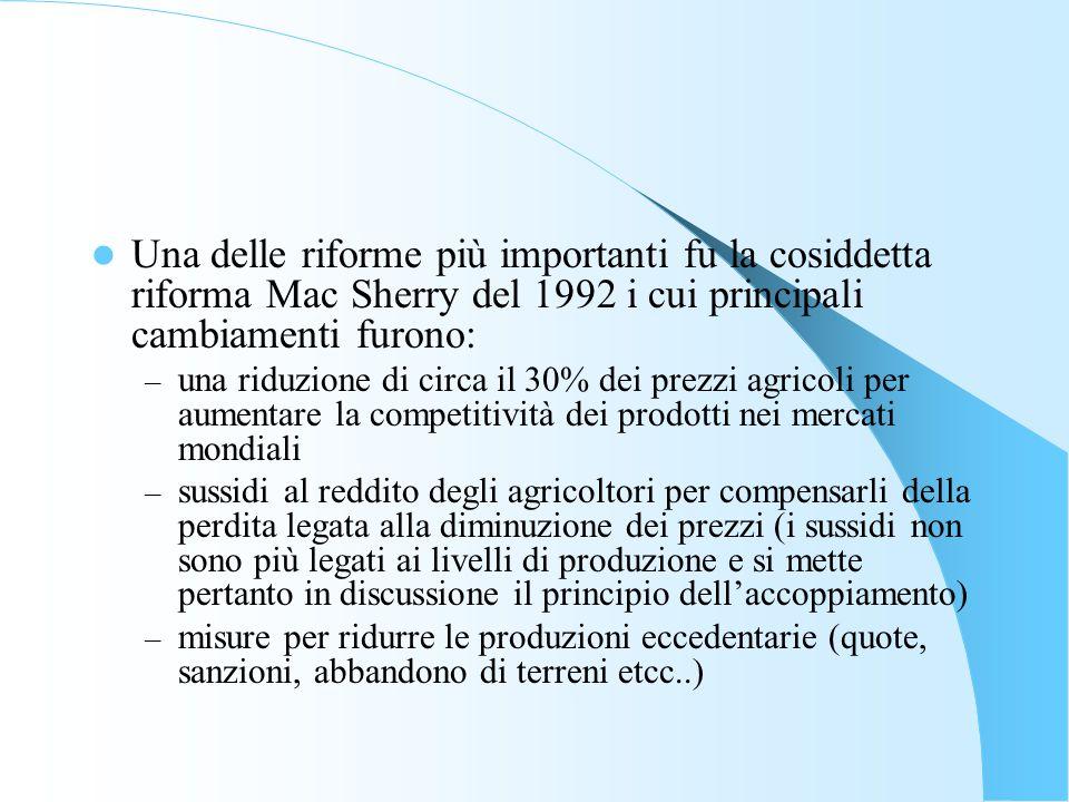 La Pac: cenni storici Inoltre i sussidi agli agricoltori vengono adesso fatti dipendere anche da una serie di condizionalità relative al rispetto di norme sulla – tutela dell'ambiente naturale – gli standard fitosanitari – la sicurezza alimentare – il benessere degli alimenti