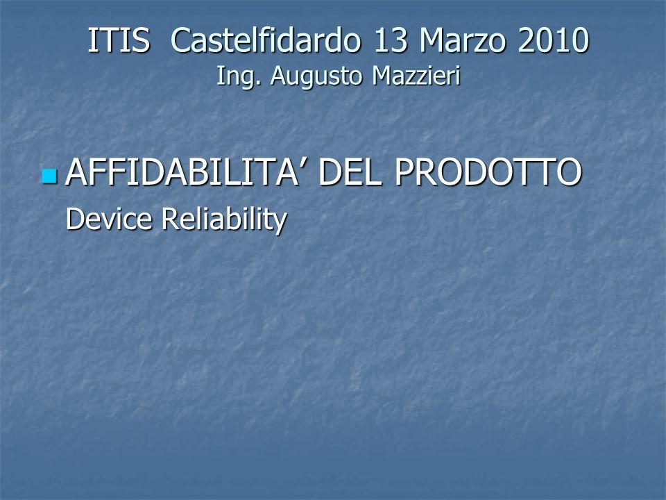 ITIS Castelfidardo 13 Marzo 2010 Ing. Augusto Mazzieri AFFIDABILITA' DEL PRODOTTO AFFIDABILITA' DEL PRODOTTO Device Reliability
