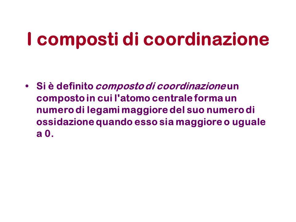 I composti di coordinazione Si è definito composto di coordinazione un composto in cui l'atomo centrale forma un numero di legami maggiore del suo num