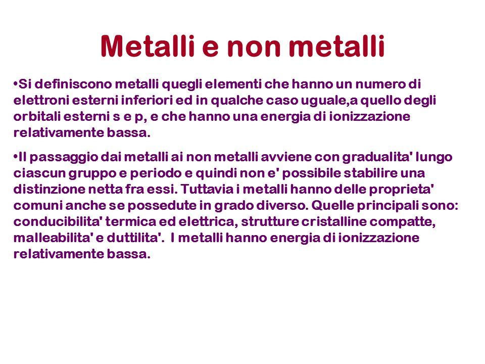 Metalli e non metalli Si definiscono metalli quegli elementi che hanno un numero di elettroni esterni inferiori ed in qualche caso uguale,a quello deg