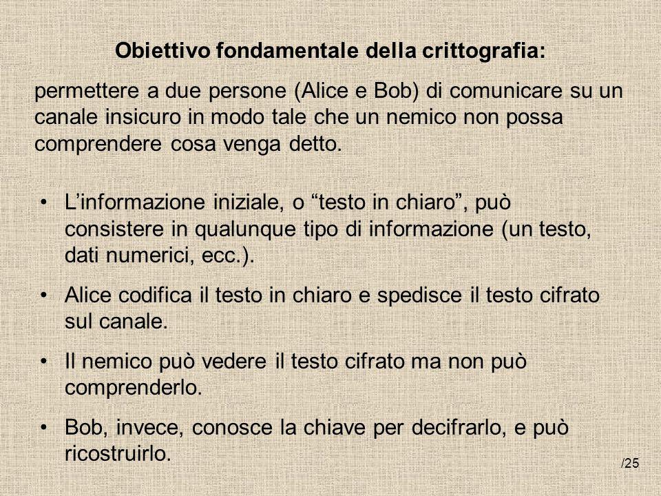 Obiettivo fondamentale della crittografia: permettere a due persone (Alice e Bob) di comunicare su un canale insicuro in modo tale che un nemico non p