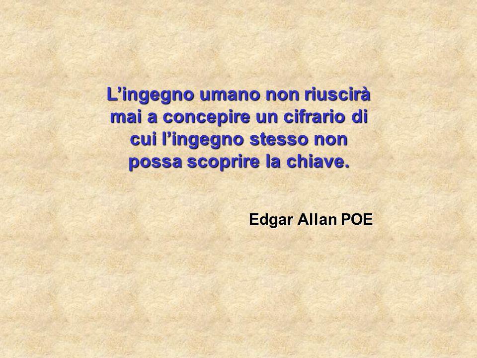 L'ingegno umano non riuscirà mai a concepire un cifrario di cui l'ingegno stesso non possa scoprire la chiave. Edgar Allan POE
