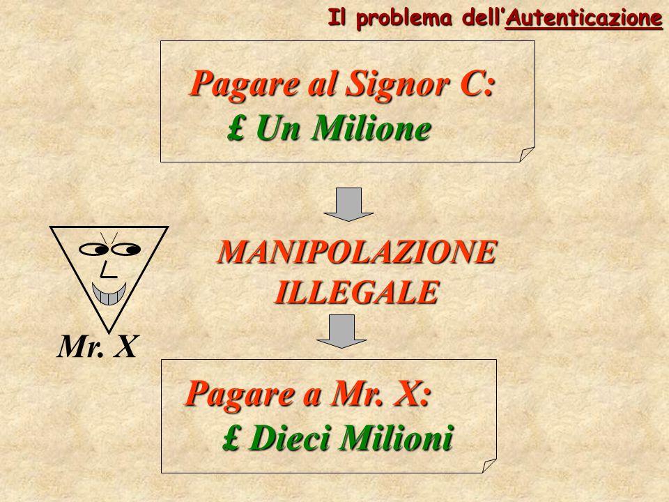 Pagare al Signor C: £ Un Milione Mr. X MANIPOLAZIONE ILLEGALE Pagare a Mr. X: £ Dieci Milioni Il problema dell'Autenticazione