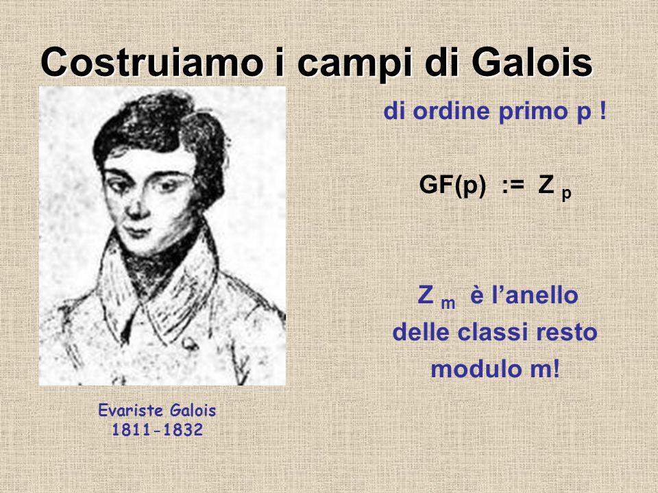 Costruiamo i campi di Galois di ordine primo p ! GF(p) := Z p Z m è l'anello delle classi resto modulo m! Evariste Galois 1811-1832