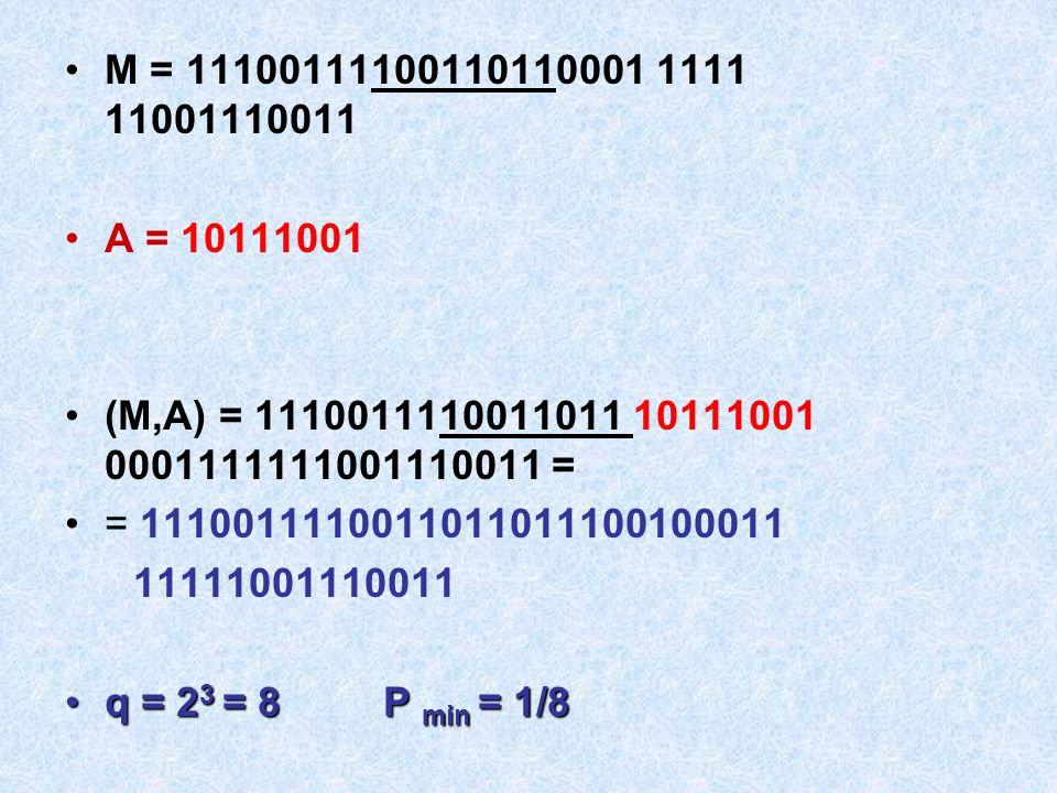 M = 11100111100110110001 1111 11001110011 A = 10111001 (M,A) = 1110011110011011 10111001 0001111111001110011 = = 1110011110011011011100100011 11111001
