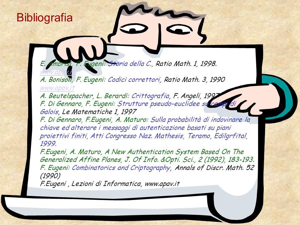 Bibliografia E. Ambrisi, F. Eugeni: Storia della C., Ratio Math. 1, 1998. www.apav.it www.apav.it A. Bonisoli, F. Eugeni: Codici correttori, Ratio Mat
