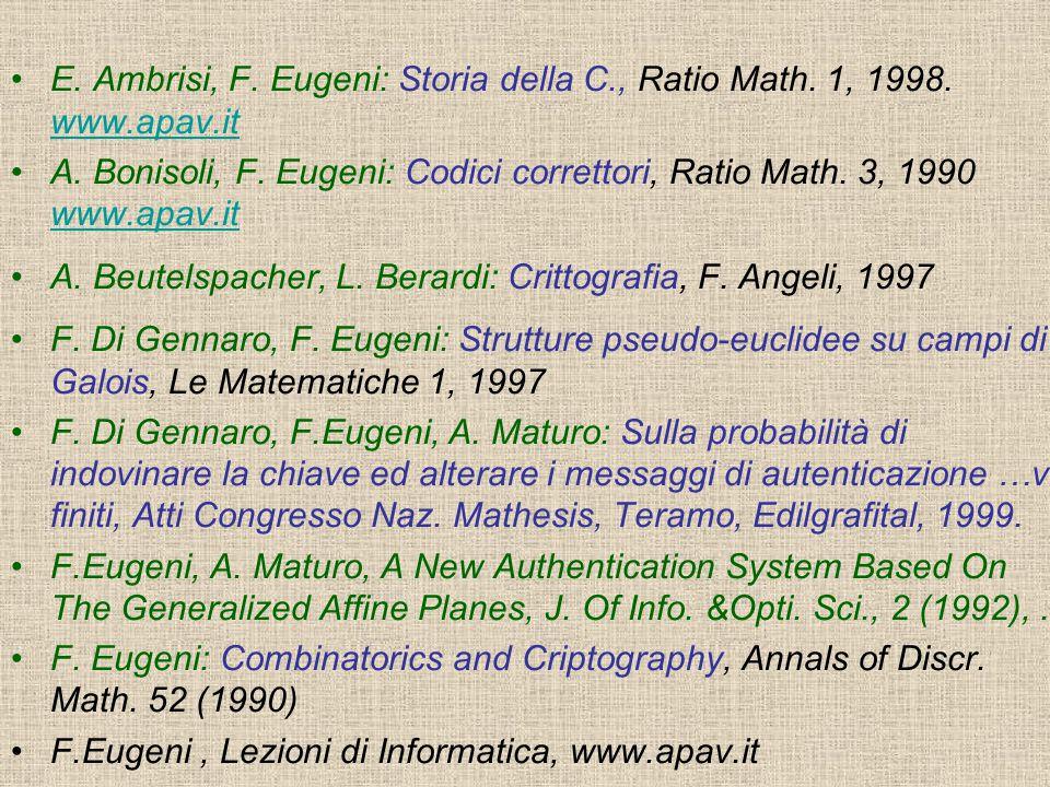E. Ambrisi, F. Eugeni: Storia della C., Ratio Math. 1, 1998. www.apav.it www.apav.it A. Bonisoli, F. Eugeni: Codici correttori, Ratio Math. 3, 1990 ww