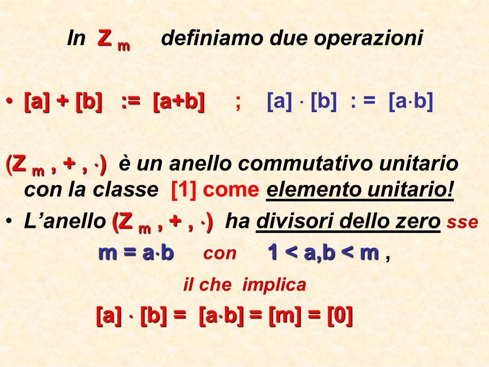 Un elemento [a]  Z m è invertibile sse ….