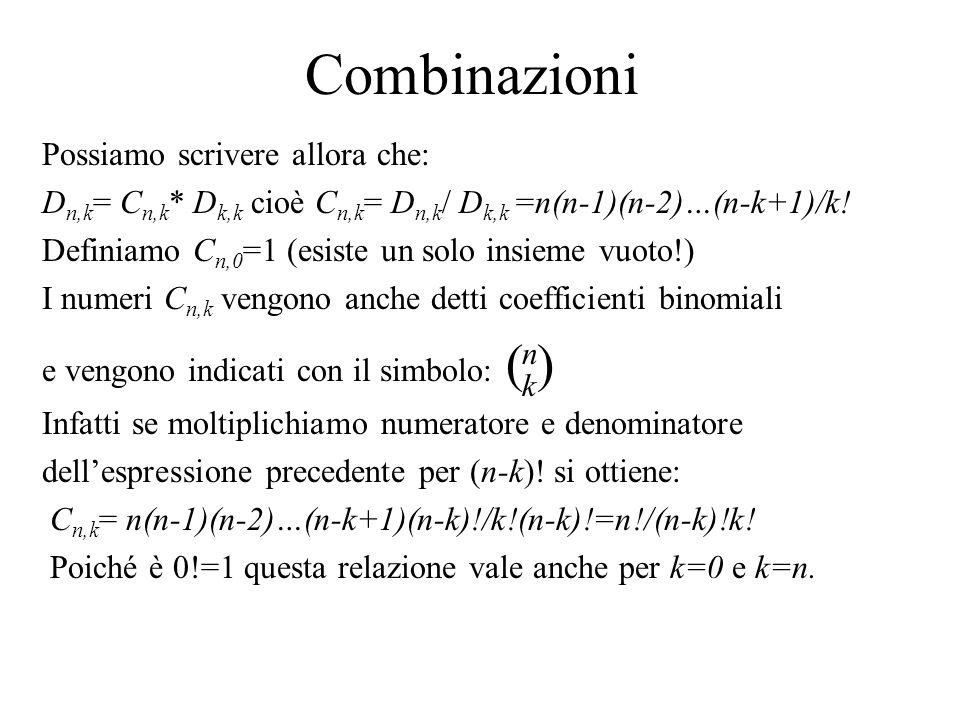 Combinazioni Possiamo scrivere allora che: D n,k = C n,k * D k,k cioè C n,k = D n,k / D k,k =n(n-1)(n-2)…(n-k+1)/k! Definiamo C n,0 =1 (esiste un solo