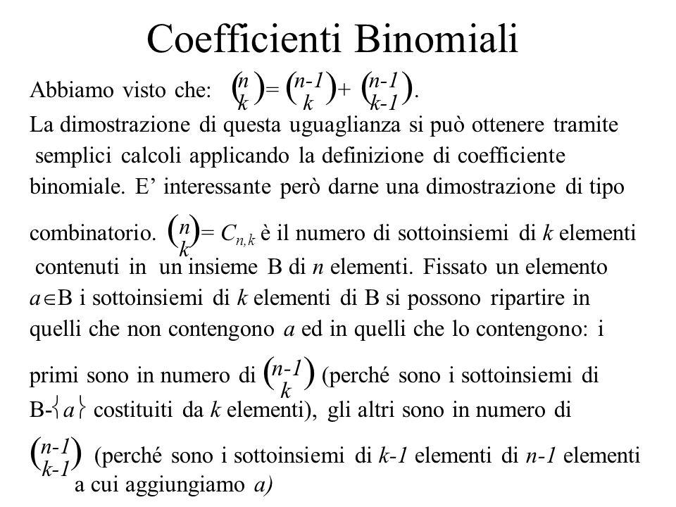 Coefficienti Binomiali Abbiamo visto che: ( ) = ( ) + ( ). La dimostrazione di questa uguaglianza si può ottenere tramite semplici calcoli applicando