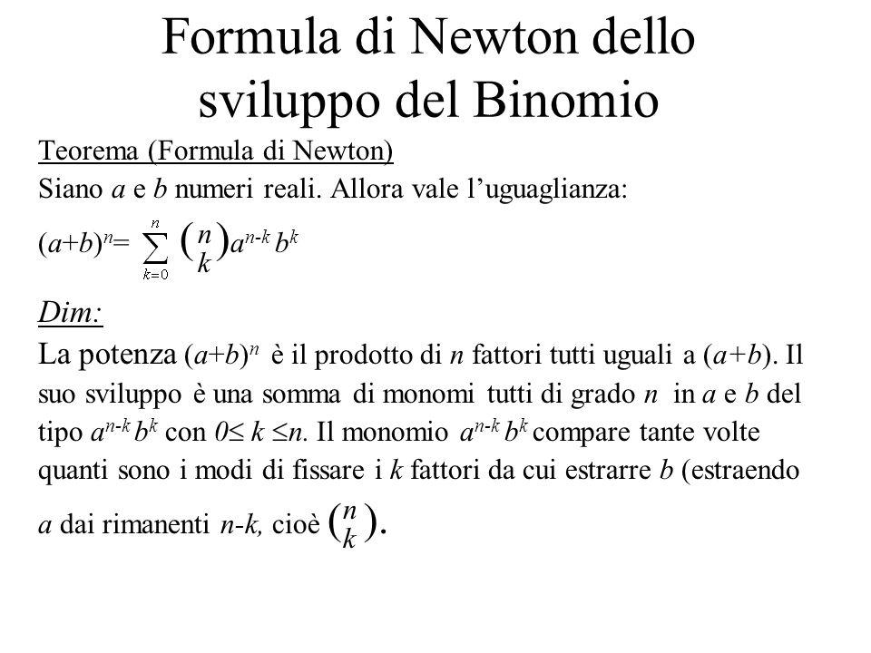 Formula di Newton dello sviluppo del Binomio Teorema (Formula di Newton) Siano a e b numeri reali. Allora vale l'uguaglianza: (a+b) n = ( ) a n-k b k