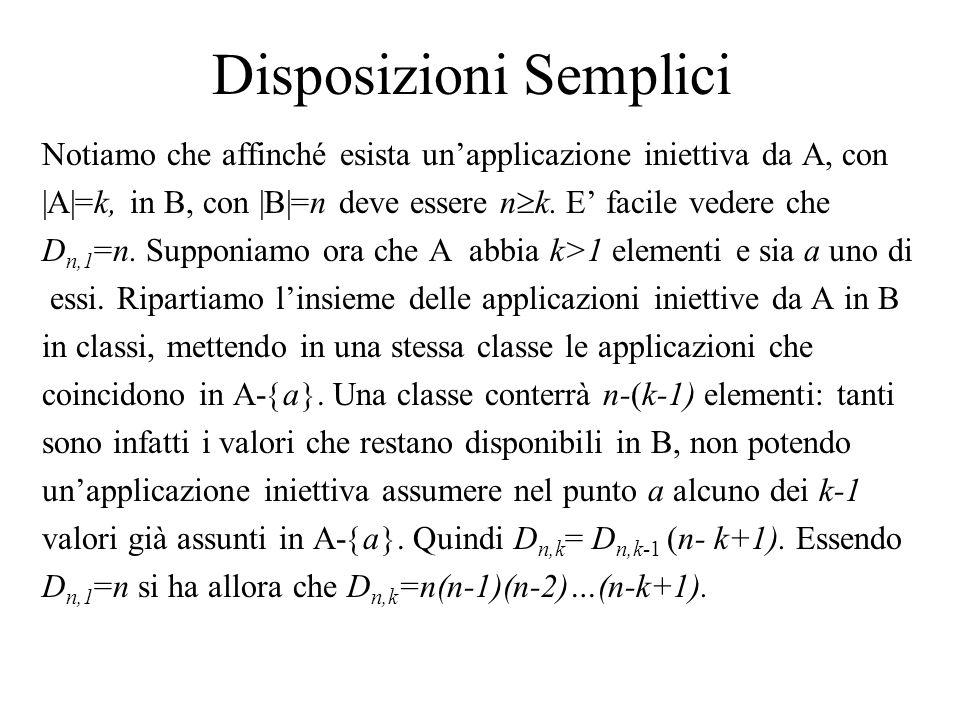 Disposizioni Semplici Notiamo che affinché esista un'applicazione iniettiva da A, con |A|=k, in B, con |B|=n deve essere n  k. E' facile vedere che D