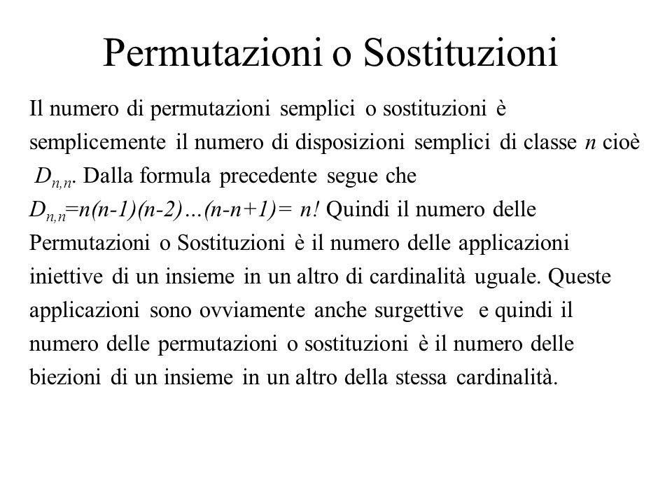Permutazioni o Sostituzioni Il numero di permutazioni semplici o sostituzioni è semplicemente il numero di disposizioni semplici di classe n cioè D n,