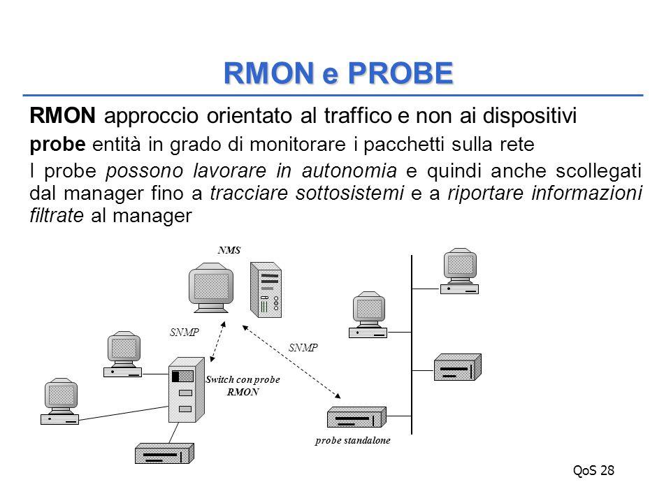 QoS 28 RMON approccio orientato al traffico e non ai dispositivi probe entità in grado di monitorare i pacchetti sulla rete I probe possono lavorare in autonomia e quindi anche scollegati dal manager fino a tracciare sottosistemi e a riportare informazioni filtrate al manager RMON e PROBE probe standalone SNMP NMS Switch con probe RMON